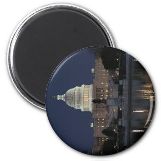 US-Hauptstadts-Gebäude-Nacht Runder Magnet 5,1 Cm