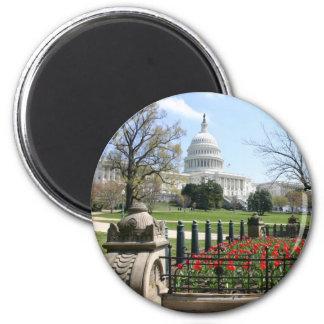 US-Hauptstadts-Gebäudefrühling Runder Magnet 5,7 Cm