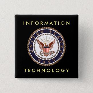 US-MARINE Informationstechnologie Quadratischer Button 5,1 Cm