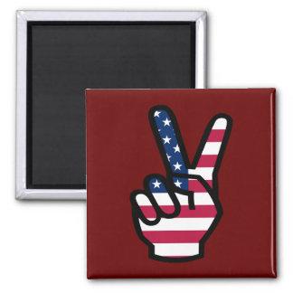 US-Sieg-Zeichen Quadratischer Magnet