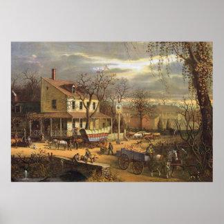 US-Stadt in Mitte des 19. Jahrhunderts Poster