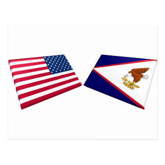 US- u. American- Samoaflaggen Postkarte