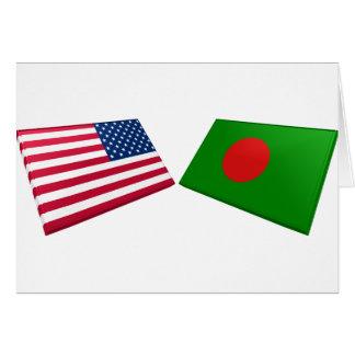 US- u. Bangladesch-Flaggen Karte