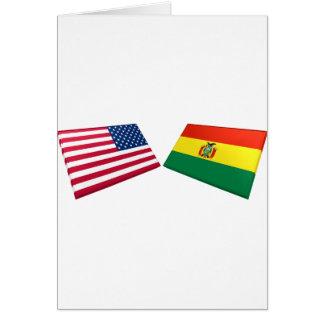 US- u. Bolivien-Flaggen Karte