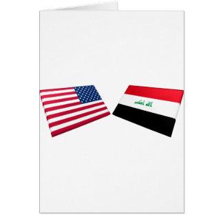 US- u. Irak-Flaggen Karte