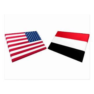 US- u. Jemen-Flaggen Postkarte