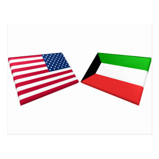 US- u. Kuwait-Flaggen Postkarte