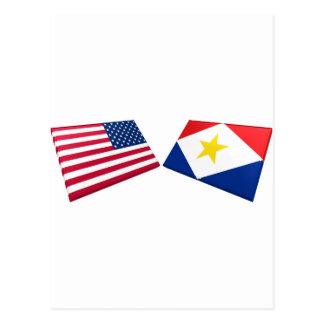 US u. Saba Flaggen Postkarte