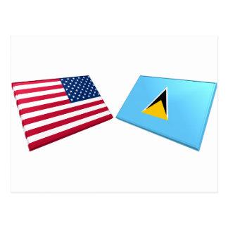 US- u. St- Luciaflaggen Postkarte