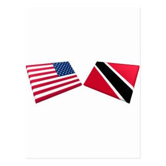 US- u. Trinidad und Tobago-Flaggen Postkarte