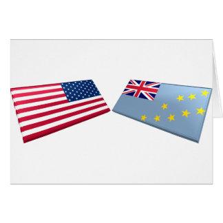 US- u. Tuvalu-Flaggen Karte