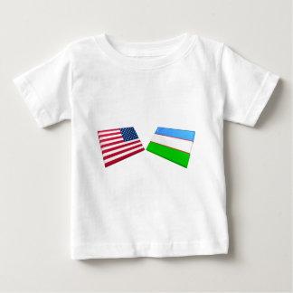 US- u. Usbekistan-Flaggen Baby T-shirt