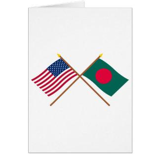 US und Bangladesch gekreuzte Flaggen Karte