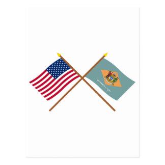 US und Delaware gekreuzte Flaggen Postkarte
