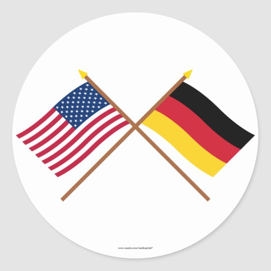 us und deutschland gekreuzte flaggen runder aufkleber zazzle. Black Bedroom Furniture Sets. Home Design Ideas