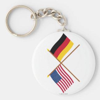 US und Deutschland gekreuzte Flaggen Standard Runder Schlüsselanhänger