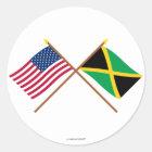 US und Jamaika gekreuzte Flaggen Runder Aufkleber