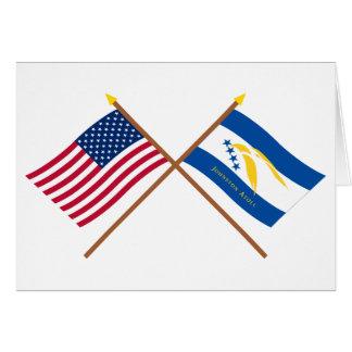 US- und Johnston-Atoll-gekreuzte Flaggen Karte
