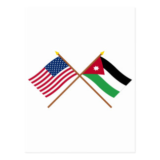 US und Jordanien gekreuzte Flaggen Postkarte