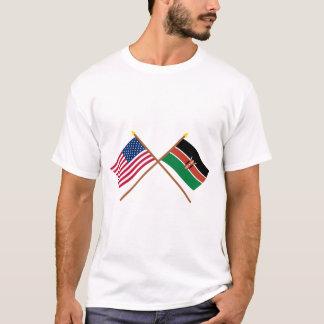 US und Kenia gekreuzte Flaggen T-Shirt