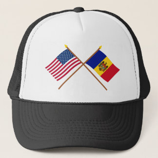 US und Moldau gekreuzte Flaggen Truckerkappe