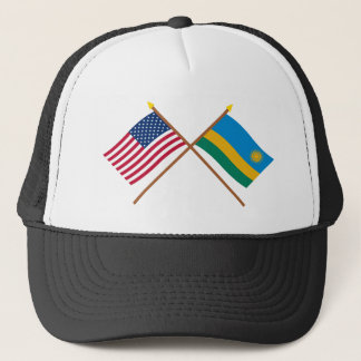 US und Ruanda gekreuzte Flaggen Truckerkappe