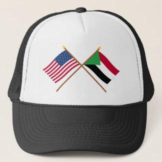 US und Sudan gekreuzte Flaggen Truckerkappe