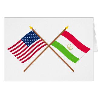 US und Tadschikistan gekreuzte Flaggen Karte