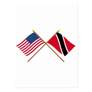 US und Trinidad u. Tobago gekreuzte Flaggen Postkarte