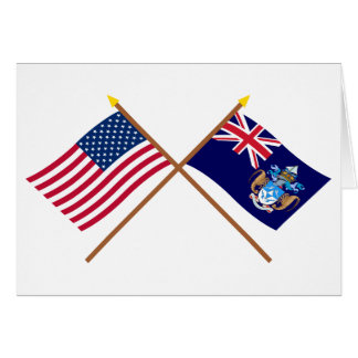 US und Tristan DA Cunha gekreuzte Flaggen Karte
