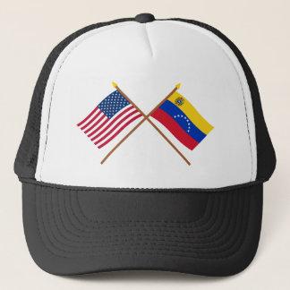 US und Venezuela gekreuzte Flaggen Truckerkappe