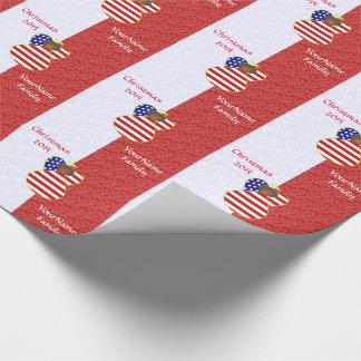 USA-Afroamerikaner-Engels-Flaggen-rotes Weiß Geschenkpapier
