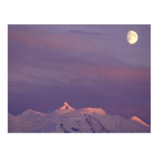 USA, Alaska, Denali NP. Mond über Postkarte