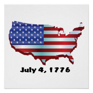 USA am 4. Juli 1776 Poster