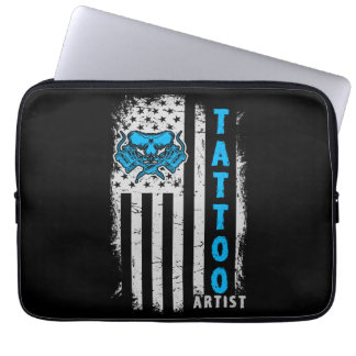 USA-amerikanische Flagge mit Tätowierungs-Künstler Laptop Sleeve