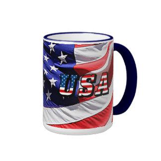 USA - Amerikanische Flagge Ringer Tasse