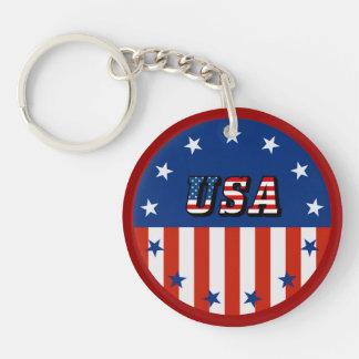USA - Amerikanische Flagge und Sterne im Kreis Schlüsselanhänger