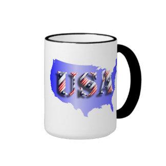 USA blau+Sterne+ Streifen Ringer Tasse