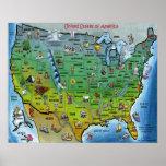 USA-Cartoon-großes Karten-Plakat
