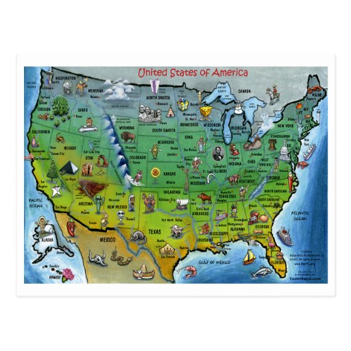 USA-Cartoon-Karte Postkarte