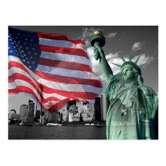 USA: Dame Liberty, amerikanische Flagge, NYC Postkarte