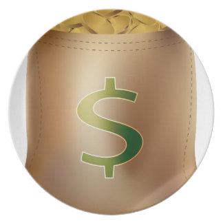 USA-Dollar-Goldmünze-Geld-Taschen-Ikone Flacher Teller