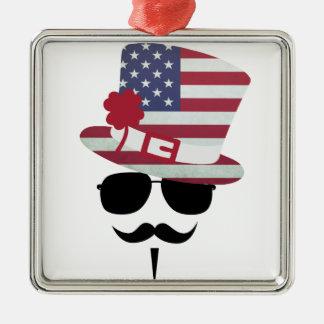USA Fan with Mustache Silbernes Ornament