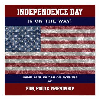 USA-Flagge - gekrümmtes Party laden ein Personalisierte Ankündigungskarte
