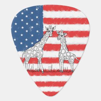USA-Flagge-Giraffen-Erhaltungs-Gekritzel Plektrum