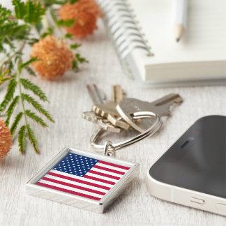 USA-Flagge-patriotisches quadratisches Metall Schlüsselanhänger