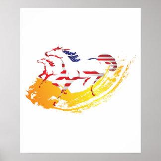 USA-Flagge-Pferderennen-Reiten Poster