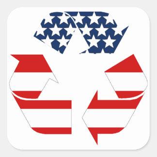 USA-Flagge - rote weiße u. Blau recycelt Symbol Quadratischer Aufkleber