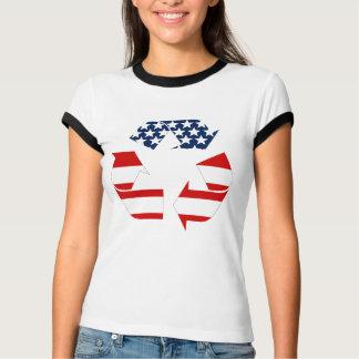USA-Flagge - rote weiße u. Blau recycelt Symbol T-Shirt