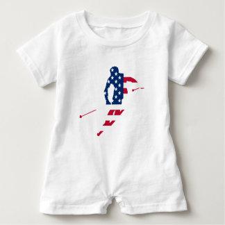 USA-Flagge Ski fahrenden Amerikaners Amerikas Baby Strampler